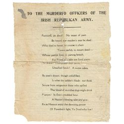 "1916 Rising: Republican propaganda documents including handbill ""To the Murdered Officers of the Iri"