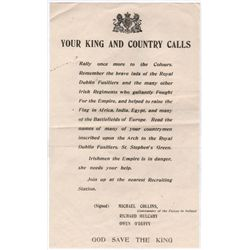 "1922: Civil War anti-Treaty propaganda poster ""Your King and Country Calls"""