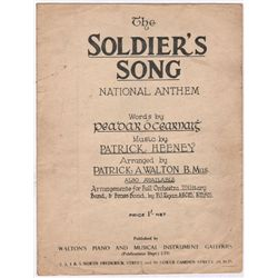 circa 1926: The Soldier's Song early printed edition of the national anthem