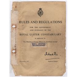 1940: Royal Ulster Constabulary postage book and regulations manual