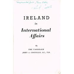 1948: Ireland in International Affairs by John A. Costello, signed
