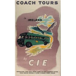 Circa 1950 Poster: Coach Tours in Ireland by CIE