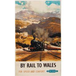 Circa 1950 poster: British Railways, By Rail to Wales