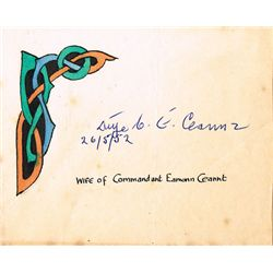 1952: Signature of Aine Ceannt, wife of Eamonn Ceannt