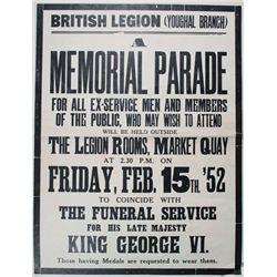 1952 (15 February) British Legion Youghal, memorial parade poster