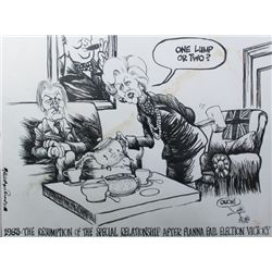 1983: Margaret Thatcher and Charlie Haughey cartoon by Martyn Turner