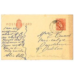 1941-50: Alice Milligan handwritten and signed postcard to Mrs Eamonn Ceannt and Cearbhall O'Dalaigh