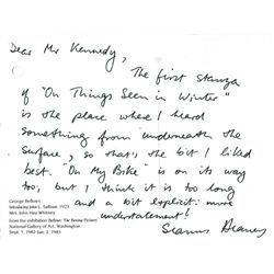 20th Century: Collection of literary interest autographed letters including Seamus Heaney, Hugh Leon