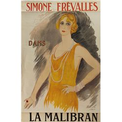 1923: La Malibran French theatre poster by Marcel Vertes (1895-1961)