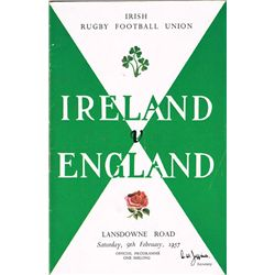 Rugby: 1956-60 Collection of Irish International programmes