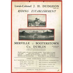 Showjumping. circa 1940: Merville Booterstown Horse Riding Establishment advertisement and fees pamp