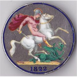 George IV crown, 1822, enamelled in several colours