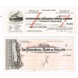 International cheque and traveller's cheque specimen collection including White Star Line and Bank o