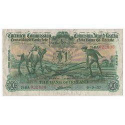 """Consolidated Banknote, """"Ploughman"""". Bank of Ireland. One Pound. 6-9-37"""