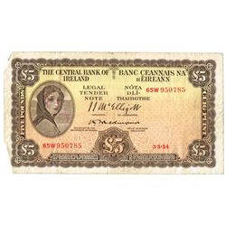 Central Bank Lady Lavery Five Pounds collection 1954-1975
