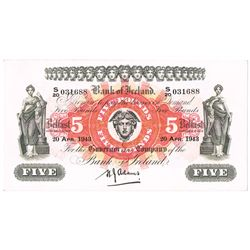 Bank of Ireland Northern Ireland Five Pounds 1943