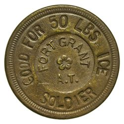 AZ - Fort Grant,Graham County - Soldier Token Good for 50lbs of Ice  *Territorial*