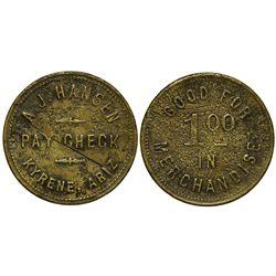AZ - Kyrene,Maricopa County - 1901-1903 - A.J. Hansen Paycheck Token