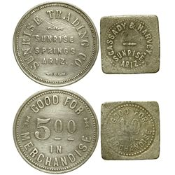 AZ - Sunrise Springs,Apache County - c1920's - Indian Trader Tokens