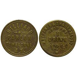 AZ - Tombstone,Cochise County - c1886-1891 - Haeffner & Shaughnessy Billiard Parlor Token *Territori