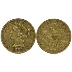 CA - San Francisco,1900-1901 - 5 Dollar US Mint Gold Coin