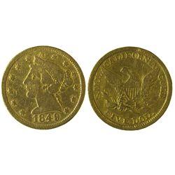CA - San Francisco,1849 - Moffat & Company $5 Gold Piece
