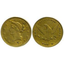 CA - San Francisco,1852 - Wass Molitor Small Head Ten Dollar Gold Coin