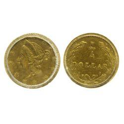CA - San Francisco,1853 - California Fractional Gold BG 203 25C Round Liberty
