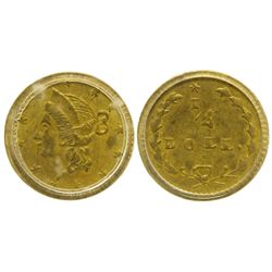 CA - San Francisco,1853 - California Fractional Gold BG 204 25C Round Liberty