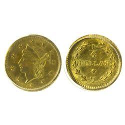 CA - San Francisco,1853 - California Fractional Gold BG 221 25C Round Liberty