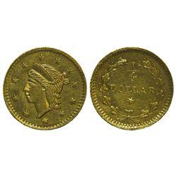 CA - San Francisco,1852-4 - California Fractional Gold BG 221 25C Round Liberty