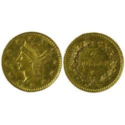 CA - San Francisco,1852-4 - California Fractional Gold BG 222 25C Round Liberty