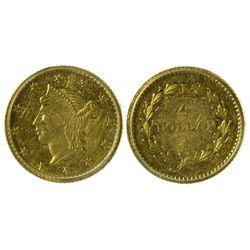 CA - San Francisco,1853 - California Fractional Gold BG 222 25C Round Liberty