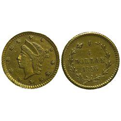 CA - San Francisco,1856 - California Fractional Gold BG 230 25C Round Liberty
