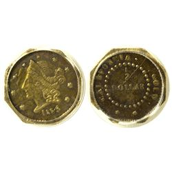 CA - San Francisco,1854 - California Fractional Gold BG 305 50C Octagonal Liberty