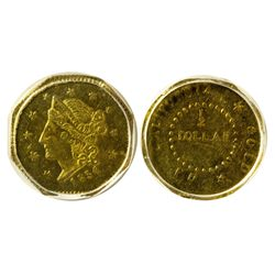 CA - San Francisco,1854 - California Fractional Gold BG 306 50C Octagonal Liberty