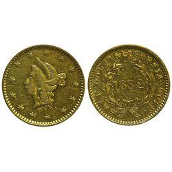 CA - San Francisco,1852 - California Fractional Gold BG 407 50C Round Liberty