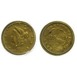 CA - San Francisco,1853 - California Fractional Gold BG 408 50C Round Liberty