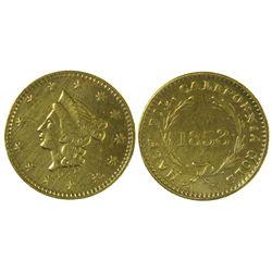 CA - San Francisco,1853 - California Fractional Gold BG 409 50C Round Liberty