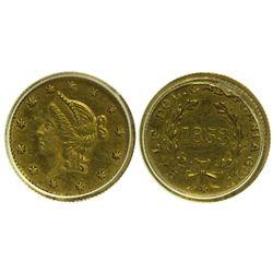 CA - San Francisco,1853 - California Fractional Gold BG 430 50C Round Liberty