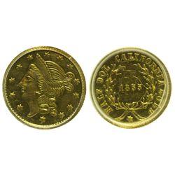 CA - San Francisco,1855 - California Fractional Gold BG 432 50C Round Liberty