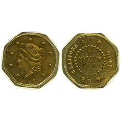 CA - San Francisco,1854 - California Fractional Gold BG 508 $1 Octagonal Liberty