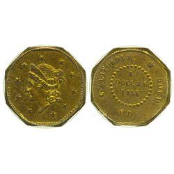 CA - San Francisco,1854/4 - California Fractional Gold BG 511 $1 Octagonal Liberty