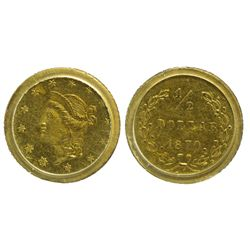 CA - San Francisco,1870 - California Fractional Gold BG 1047 50C Round Liberty