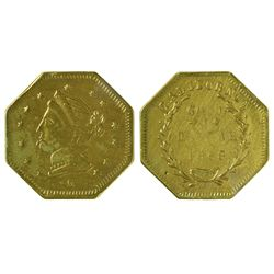 CA - San Francisco,1868 - California Fractional Gold BG 1105 $1 Octagonal Liberty