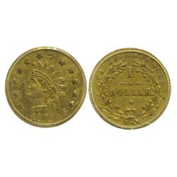 CA - San Francisco,1872 - California Fractional Gold BG 1207 $1 Round Indian