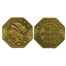 CA - San Francisco,1863 - California Fractional Gold BG 1307 $1 Octagonal Liberty