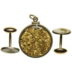 c1860's - Gold Locket & Cuff Links
