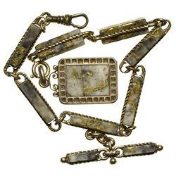 c1860 - Gold Quartz Watch Fob Chain and Locket
