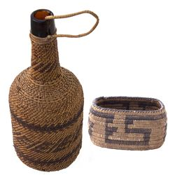 "AZ - No Date - Native American ""Trinket"" Basket & Wicker Whiskey Bottle"